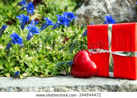 beautiful greeting card with bavarian gentian and a heart and gift - stock photo