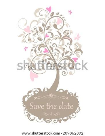 Beautiful greeting card with decorative tree. Raster copy - stock photo