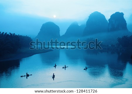 beautiful guilin scenery at sunrise,yangshuo scenery is best. - stock photo