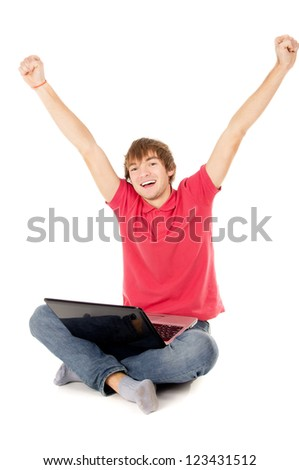 beautiful guy sitting for the laptop and happy raising a hand in the top of isolated on white background