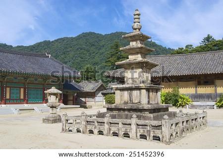 Beautiful Haeinsa temple exterior, South Korea. Jewel of Buddhist temples in Korea, home for the Tripitaka Koreana and a UNESCO World Heritage site. - stock photo