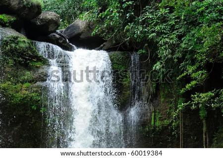 Beautiful  Haew Narok Waterfall in Khao Yai ,Thailand . - stock photo
