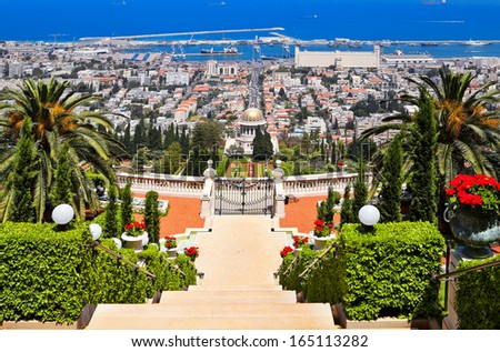 Beautiful Haifa view of Mediterranean Sea and Bahai Gardens - stock photo