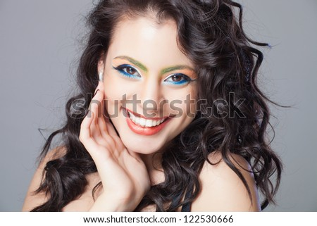 Beautiful hair, portrait of an young indian girl - stock photo
