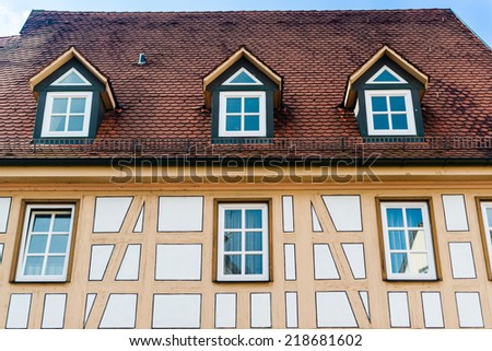 Beautiful half timbered house in Besigheim, South Germany - stock photo