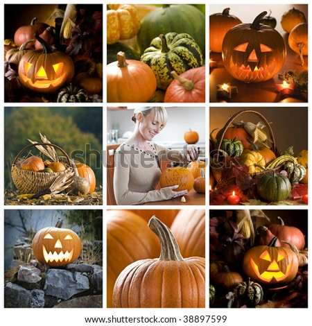 Beautiful halloween collage made from nine photographs - stock photo