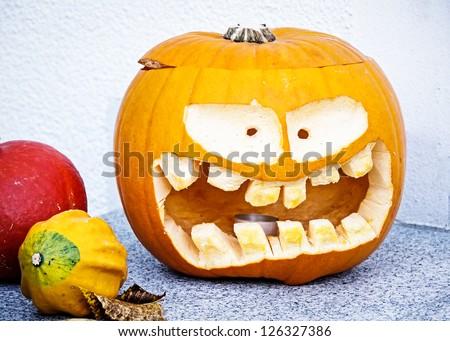 beautiful halloween pumpkin - close up - stock photo