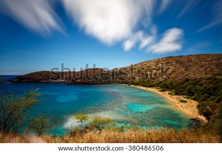 Beautiful Hanauma Bay Nature Preserve in Oahu Hawaii - stock photo