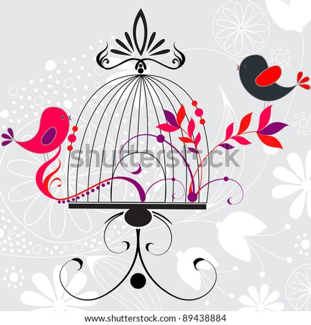 Beautiful hand drawn style floral romantic background with birds and cage