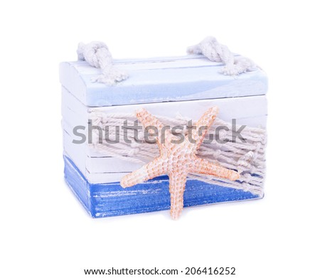 Beautiful hand made casket isolated on white - stock photo