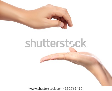 beautiful  hand, palm up. Isolated on white background