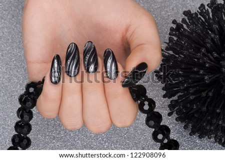 beautiful hand with fresh manicured stylish nails - stock photo