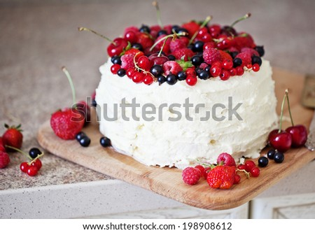 Beautiful Handmade Cherry fruit cake - stock photo