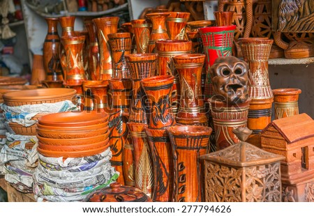 Beautiful handmade showpieces in a local store in Bangladesh. - stock photo