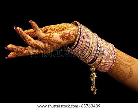 Beautiful hands of an India Bride - stock photo