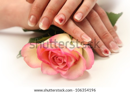 Beautiful hands with french manicure - stock photo