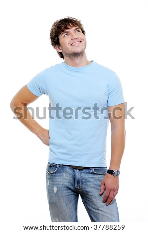 Beautiful handsome guy in casuals looking up - white background - stock photo