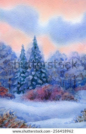 Beautiful handwork watercolour backdrop with space for text. Quiet winter sunset. Lush high blue spruce in snow-covered valley with dry bushes and forest thicket  - stock photo