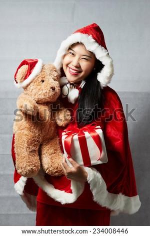 Santa Asian girl