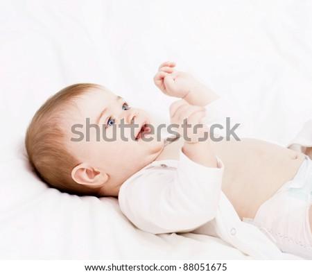 beautiful happy baby - stock photo