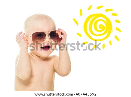 Beautiful happy baby. One, isolated on white. Laughing baby. Baby in sunglasses. Summer time. - stock photo