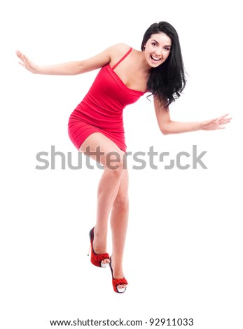 beautiful happy brunette woman, isolated against white background