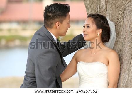 Beautiful happy couple on wedding day - stock photo