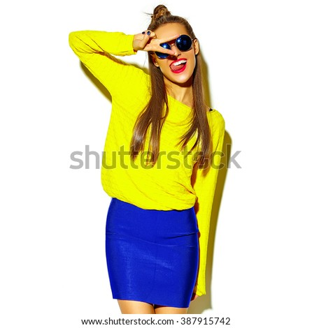 beautiful happy cute smiling brunette woman girl in casual colorful hipster yellow summer clothes with red lips isolated on white showing peace sign and her tongue - stock photo