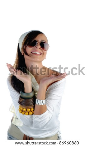 Beautiful happy girl with sunglasses isolated on white with copy space