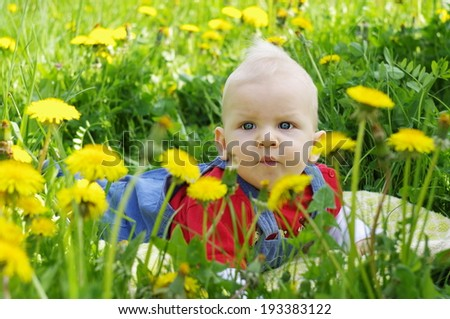 Beautiful happy little baby boy on a green meadow with yellow flowers dandelions on the nature in the park . Allergy concept - stock photo