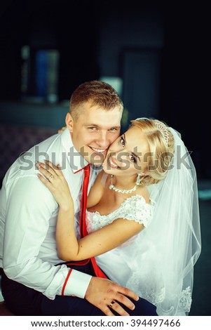 Beautiful happy newlyweds possing in room - stock photo