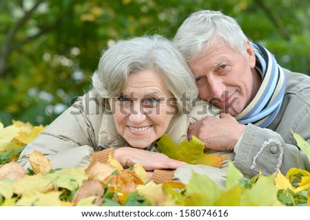 beautiful happy older couple resting together outdoors - stock photo