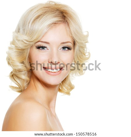 Beautiful happy portrait of an young adult blonde woman - isolated on white