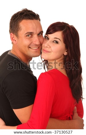 Beautiful happy smiling couple in love looking back