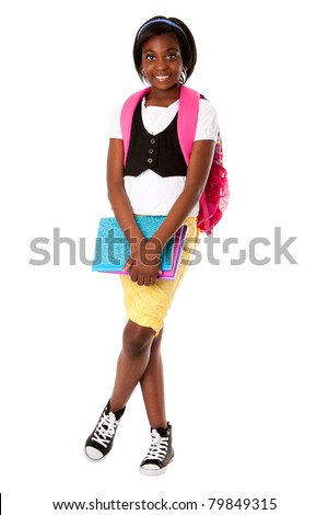 Beautiful happy student girl with colorful notebooks and backpack ready for school, isolated. - stock photo