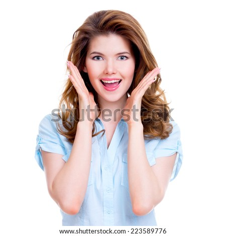 Beautiful happy surprised woman with positive emotions - isolated on white background. - stock photo