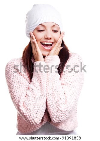 beautiful happy surprised young woman  looking down, isolated against white background - stock photo