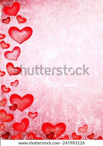 Beautiful  Happy Valentine's day Card with red hearts on vintage paper background. Abstract Red love heart Illustration  - stock photo