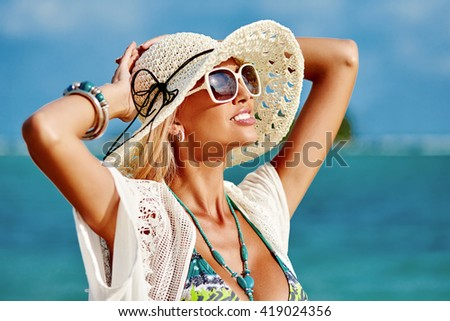 Beautiful happy woman enjoying freedom - stock photo