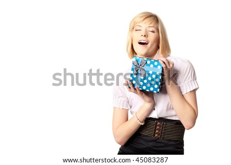 beautiful happy woman holding the present box over white background