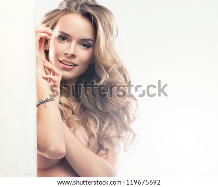 Beautiful happy woman in pregnant - stock photo