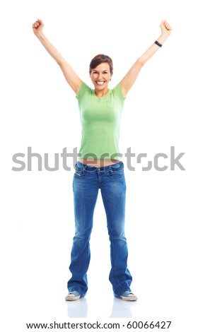 Beautiful happy woman. Isolated over white background - stock photo