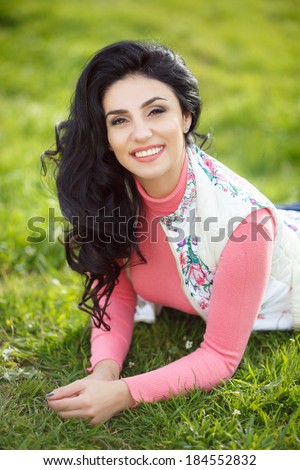 Beautiful happy woman outdoor portrait lifestyle, attractive female walking on nature enjoying sun. series.