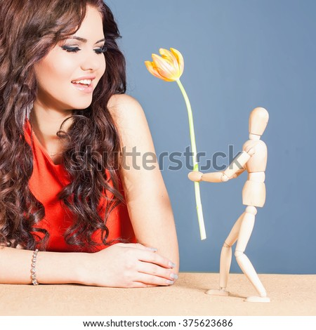 Beautiful Happy Woman Received Tulip Flower Stock Photo ...