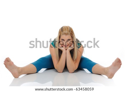 Beautiful happy woman stretching and doing fitness. isolated on white background - stock photo