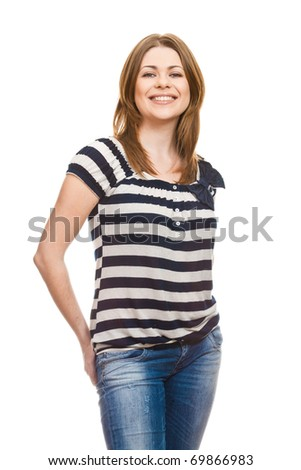 Beautiful happy yong woman with tothy smile  over white background - stock photo