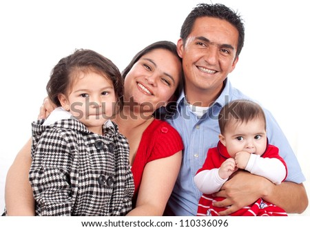 Beautiful Happy young family over white background - stock photo