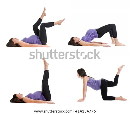 beautiful happy young pregnant woman engaged in fitness. Isolated on white background. Set photos - stock photo
