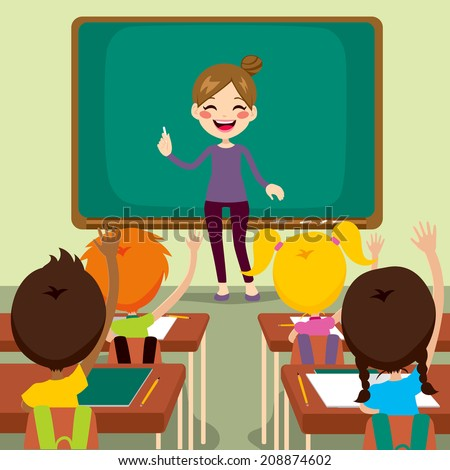 Beautiful happy young teacher woman standing teaching in front children raising hands up sitting in classroom - stock photo