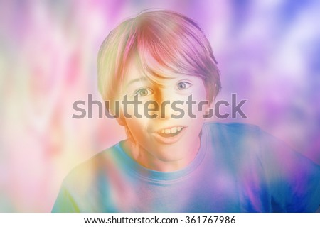 beautiful happy young woman immersed in feminine colors - stock photo